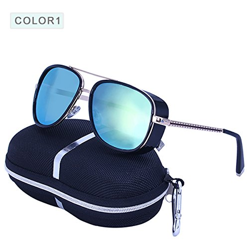 a26ee86b36 World2home C1 Tony Stark Iron Man Sunglasses Men Luxury Brand Eyewear  Mirror Punk Sun Glasses Vintage Male Sunglasses  Amazon.in  Clothing    Accessories