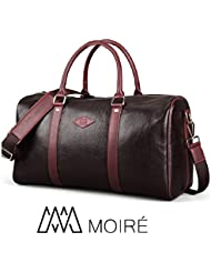 Moiré Forlenza Weekend Genuine Leather Luxury Mens Travel Duffel Bag Fits 17 Laptop Weekender Luggage