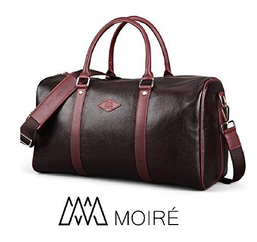 Luxury Travel Bag - Moiré Forlenza Weekend Genuine Leather Luxury Mens Travel Duffel Bag Fits 17