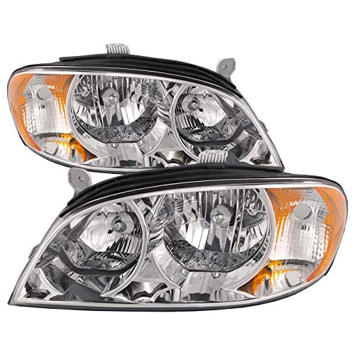 - HEADLIGHTSDEPOT Compatible with Kia Spectra Early Design New Chrome Replacement Headlights Set