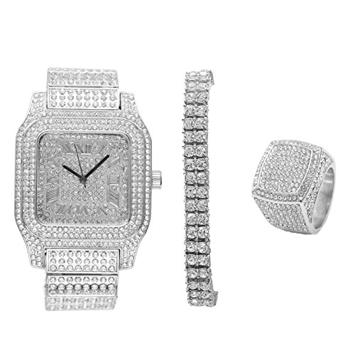 Bling-ed Out Biggie Sq. Iced Silver Hip Hop Watch w/ 2 Row Bling-ed Out Tennis Bracelet and Bling-ed Out Ring - You Will Hypnotize in a Flashy Way - 0513S2RT3Set(9) by Charles Raymond