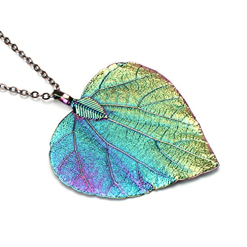 BOUTIQUELOVIN Women's Long Leaf Pendant Necklaces Real Filigree Autumn Leaf Fashion Jewelry Gifts -