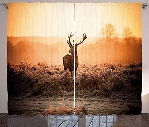 Ambesonne Hunting Decor Curtains, Red Deer in The Morning Sun Wild Nature Scenery Countryside Rural Heathers, Living Room Bedroom Window Drapes 2 Panel Set, 108 W X 84 L Inches, Brown Orange