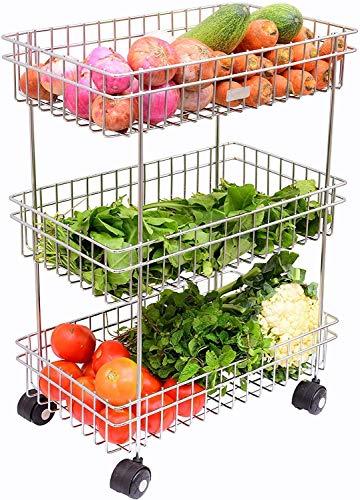 Griva Vegetable Stainless Steel 3-Tier Fruits & Vegetable Onion Trolley Container Basket Organizer Organiser Holder Stand for Kitchen (Multi Purpose Spice Kitchen Storage Shelf Shelves Rack)