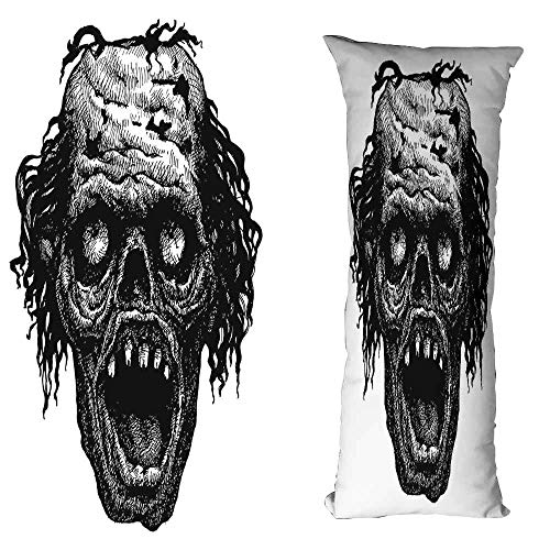 duommhome Halloween Creative Pillowcase Zombie Head Evil Dead Man Portrait Fiction Creature Scary Monster Graphic Suitable for Hair and Skin Health W19.6X L63 inch Black Dark Grey -
