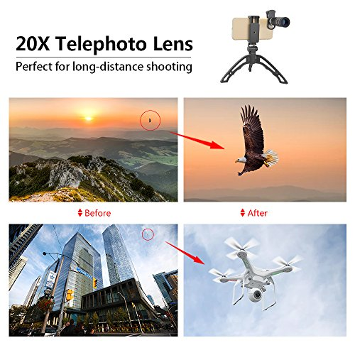 Apexel Cell Phone Telephoto Lens, Universal High Power 20X Mobile Phone Lens Portable Clip-on Camera Attachment for iPhone X/8/7/6s/6Plus/, Samsung Galaxy, Android and Most Smartphones by Apexel (Image #5)