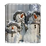 Snowman Shower Curtain EZON-CH Home Mildew Resistant Water Repellent Washable Fabric Shower Curtain Merry Christmas Snowman Shower Curtain With Shower Rings(60x72IN)(Snowman Family With Grey Hat And Scraves)