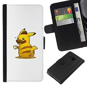 YiPhone /// Tirón de la caja Cartera de cuero con ranuras para tarjetas - Pika Café - HTC One M7