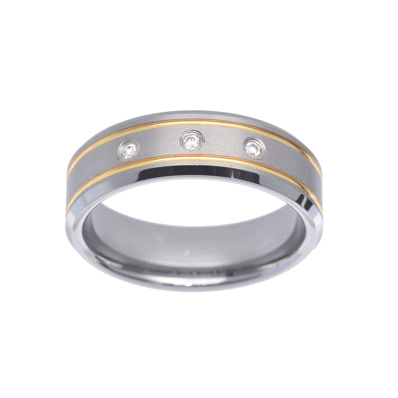 FlameReflection Tungsten Wedding Rings for Men Gold Plated Grooves CZ Bevel Edge Two-Tone Polish Band Size 9-13
