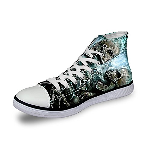 Skull High Top Shoes (Amzbeauty High Top Skull Print Canvas Shoes for Men Lace-up Flat Sneakers-C4175AK-SKUD1)