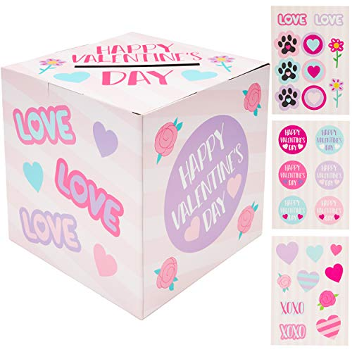 Blue Panda Valentine#039s Day Card Mailbox with 24 Bonus Stickers for Classroom Exchange 8 x 8 inch