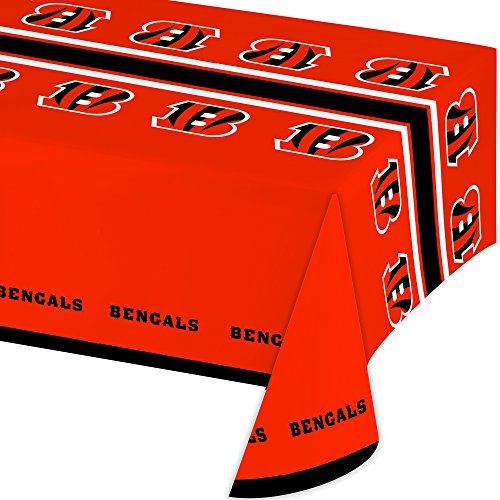 Creative Converting Officially Licensed NFL Plastic Table Cover, 54x102, Cincinnati Bengals