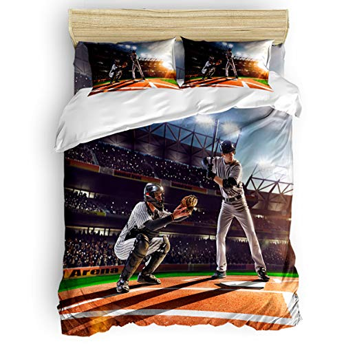 Pink Sky King Duvet Cover Set Comfortable Bedding Sets,Include 1 Duvet Cover 1 Flat Sheet and 2 Pillow Cases,Baseball Game Stadium Sunset Bed Sheet -