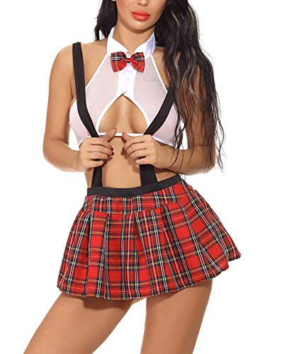 GEEK LIGHTING Womens Sheer School Girl Costume Sexy Uniform Tie Top Tartan Pleated Skirt(White,M)