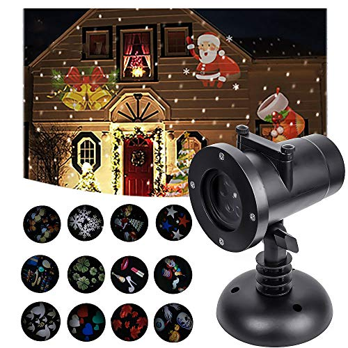 COOSA 12 Patterns Decoration Projector Lights, IP65 Waterproof LED Landscape Projector for Christmas Wedding Birthday Holiday Party Halloween (12 Patterns) -