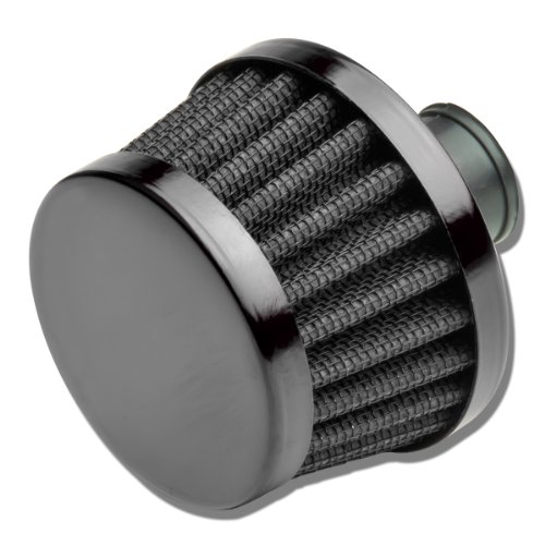 9MM Inlet Universal Chrome Cone Aluminum Crankcase Breather Filter (Black) (Breather Filter)