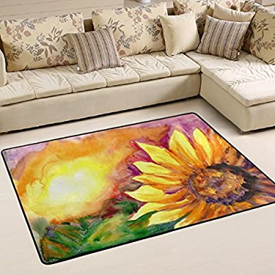 WOOR Watercolor Painting Sunflower Living Area Rugs for Living Room Bedroom Dining Office 6 x 4 Feet Modern Floor Mat Home Decor