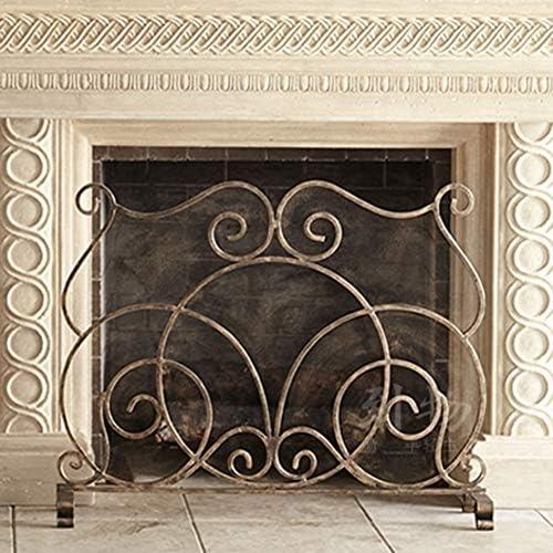 大型クレストフラットガード暖炉スクリーン、メタルメッシュの固体錬鉄製フレーム、装飾スクロールデザイン、自立型スパークガード、銅仕上げ