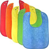 Waterproof Baby Bibs with Snaps, Unisex, Gift Box 5 Pack, Solid Colors