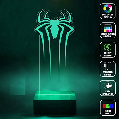CMLART Handmade Spider Man Logo 3d Lamp RGB Full Color 44 Key Remote control LED Night Light Best Gift Desk Table Lighting Home Decoration (2)