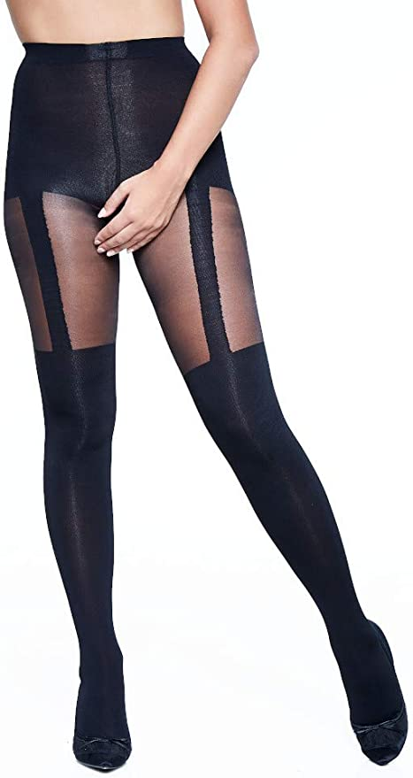 MYSASI MOCK SUSPENDER TIGHTS IN BLACK  ONE SIZE FREE 1ST CLASS POST