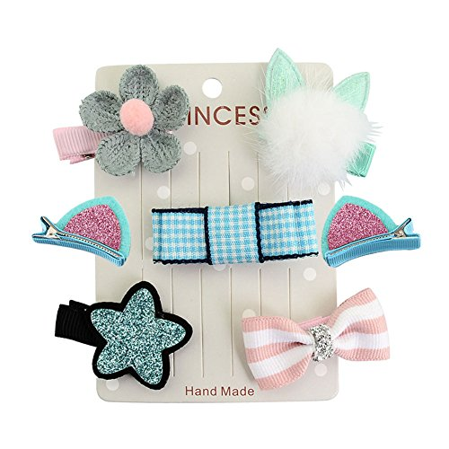 7Pcs Baby Toddler Different Style Mini Hair Clip Little Girls Cute Hair Bow Clip Set-Blue