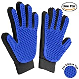 #6: Neepanda Pet Grooming Glove - Gentle Deshedding Brush Glove - Massage Tool with Five Finger Design - Suitable for Dogs Cats Horses with Long & Short Fur - Upgrade Version (Blue, 1 Pair )