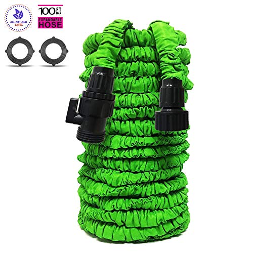 M&W Garden Hose Expandable Garden Hose with Triple Layer Latex Core 3/4 ABS Aluminum Alloy Fittings On/Off Valve Extra Strength Fabric 100 FT Garden Hose for All Your Watering Need