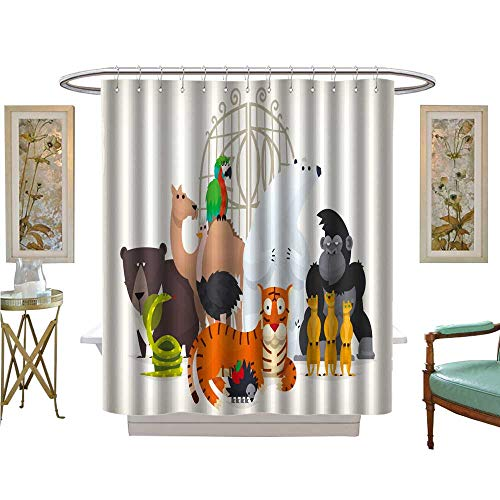 luvoluxhome Shower Curtains 3D Digital Printing Vector Card with Animals Stand Near Gates invit to Visit a Zoo Satin Fabric Sets Bathroom W69 x L84 -