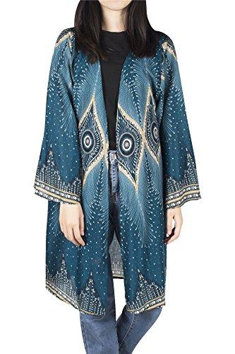 kimono kimono a Lofbaz in PRINTED con Verde Eye Camicette stampa Ottanio stampa con fiori YqYvTwap