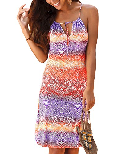 Happy Sailed Women Bohemian Sundress African Print Tie Dye Summer Sleeveless Shift Dress,Large Print 8