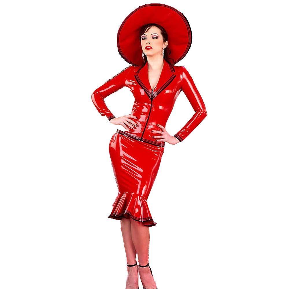100% látex para mujer, vestido sexy de látex rojo con cremallera ...