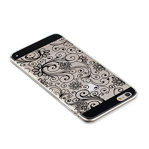 "Fosmon DURA-FLORA Flower Pattern TPU Case Cover hülle für Apple iPhone 6 Plus / 6s Plus (5.5"") - / Schwarz"