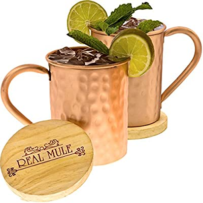 [Gift Set] Handcrafted 100% Solid Moscow Mule Copper Mugs By RealMule- Set of 2 + FREE Wooden Coasters and Gift Box - Hammered 16 Oz Cups - Perfect For Ice Cold Mules, Beer, Soft Drinks