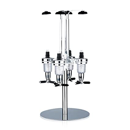 Dispensador Licor Rotación 4 Cabezas Rotación Vino Dosificador (Acero Inoxidable Cabeza, Aleación Aluminio,