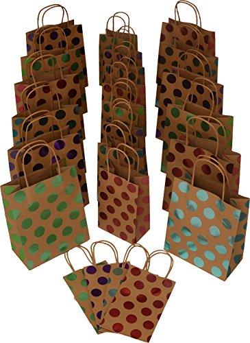 Foil Gift Bags - Kraft Gift Bags, foil hot-stamp polka-dot Design, 12 medium bags, 12 small bags, set of 24 (Multi Color)
