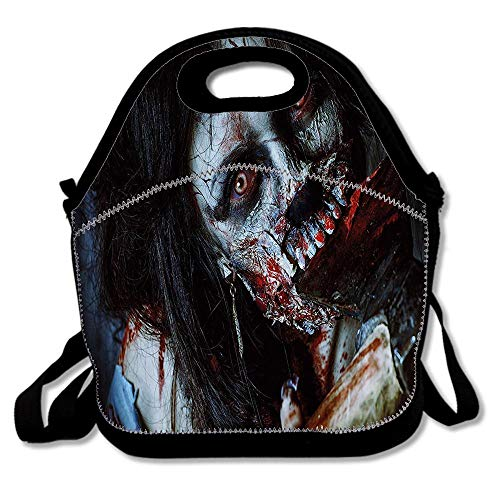 Zombie Scary Dead With Bloody Axe Evil Fantasy Gothic Mystery Halloween Picture Waterproof Reusable Lunch Bags For Men Women Adults Kids Toddler Nurses With Adjustable Shoulder -