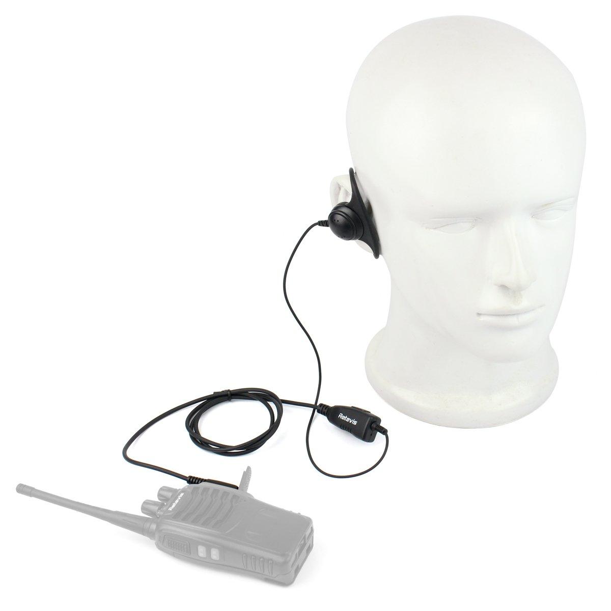 Retevis 2 Pin Walkie Talkies Earpiece D Shape Headset Earpiece for Baofeng UV-5R BF-888S BF-F8HP Retevis H-777 RT21 RT22 RT27 H-777S Kenwood 2 Way Radios (10 Pack) by Retevis (Image #3)