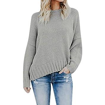 Mujer Suéter blusa suelto,Sonnena ❤ Suéter para mujer fuera del hombro Blusa de punto cuello en V casual Suéter de manga larga suelta: Amazon.es: Hogar