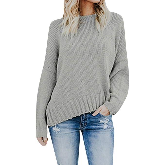 c1775e486d16 Pull en Tricot Femme Sweater A Manches Longues Hiver Chaud Couleur Unie  Chemisier Grande Taille Chic Chemise Tops Sweatshirt Sweat-Shirt Blouse  Sweat ...