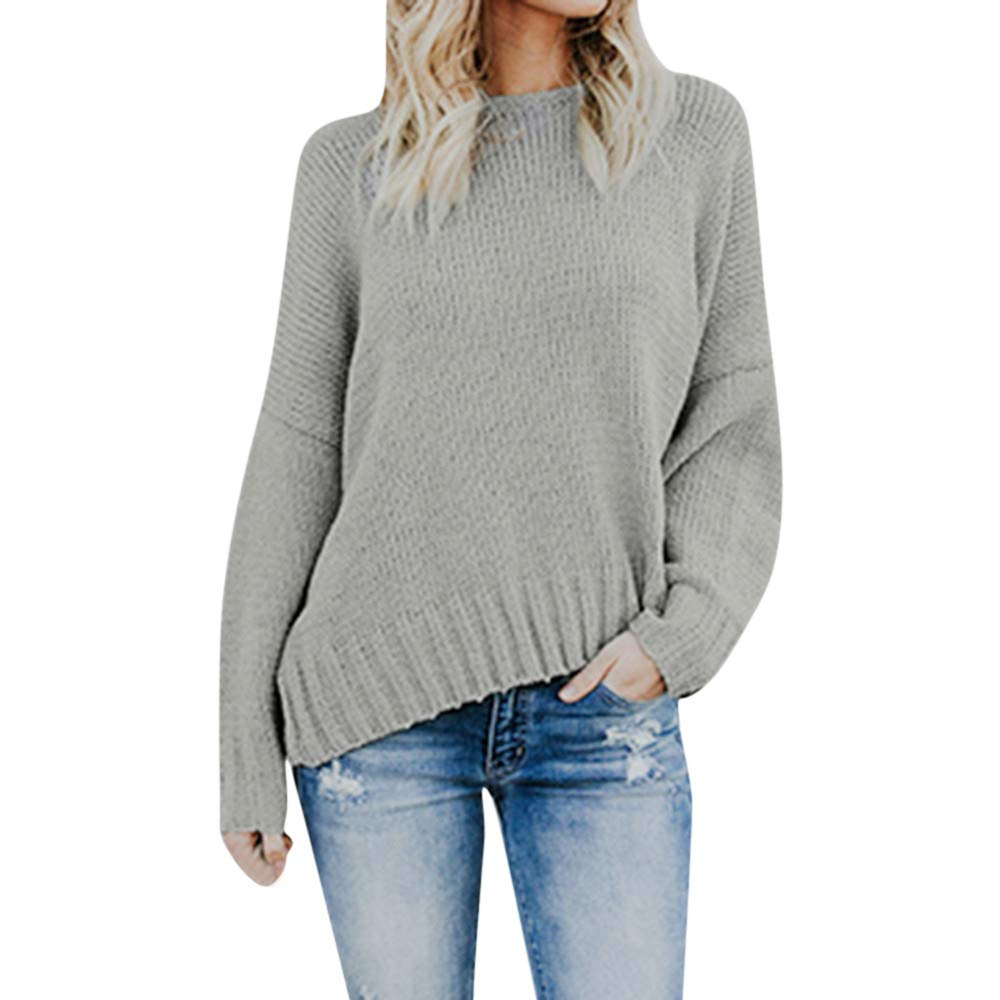 Preferential New Zlolia Womens Irregular Off The Shoulder Sweater Casual V-Neck Knitted Loose Long Sleeve Pullover