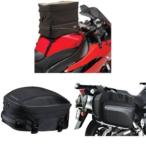 Nelson-Rigg CL-903 Black Expandable Tank/Tail Bag,  CL-1060-S Black Sport Tail/Seat Pack,  and  (CL-855) Black Touring Adventure Saddlebag Bundle ()