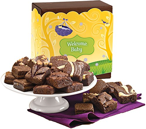 Fairytale Brownies Welcome Baby Magic Morsel 24 Gourmet Food Gift Basket Chocolate Box - 1.5 Inch x 1.5 Inch Bite-Size Brownies - 24 Pieces