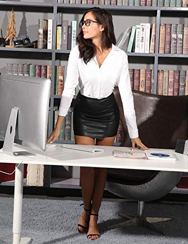 Chic Bianco con Camicia lunghe Up Office Top Elegante Camicetta Donna Button Casual maniche Classico Business Dress aWwvvXxgZq