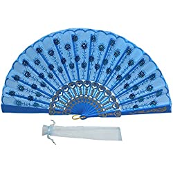 Newstarfactory Full Color Collection Embroidery Sequins Plastic Cloth Folding Fan (Blue)