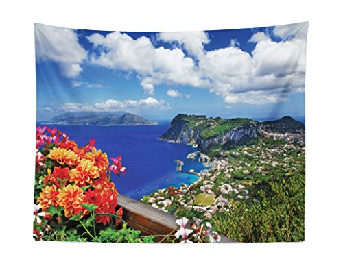 - Lunarable Island Tapestry, Scenic Capri Island, Italy Mountain Houses Flowers View from Balcony Landmark, Fabric Wall Hanging Decor for Bedroom Living Room Dorm, 28 W X 23 L inches, Blue Green Orange