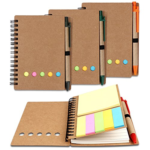 Amariver 4 Pack Steno Notepads With Pen in Holder and Sticky Notes, Brown Cover Spiral Notebook Kraft Paper Notepad with Page Maker Colored Index Tabs Flags (A6) by Amariver