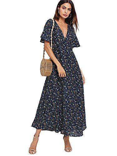 Floral Chiffon (Milumia Women's Boho Deep V Neck Floral Chiffon Wrap Split Long Maxi Dress Small Multicolor-5)