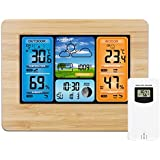 SODIAL Digital Weather Station Thermometer Hygrometer Barometer And Sensor Lcd Monitor Weather Forecast Indoor And Outdoor Clock Wood Color