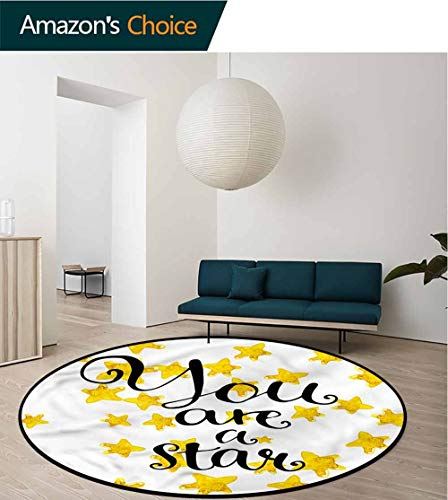 RUGSMAT Lifestyle Modern Washable Round Bath Mat,Motivational Star Phrase Bedroom Home Shaggy Carpet Diameter-59